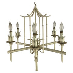 Painted Hollywood Regency Faux Bamboo Chandelier