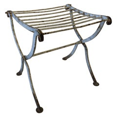 Painted Iron Garden Folding Bench, France