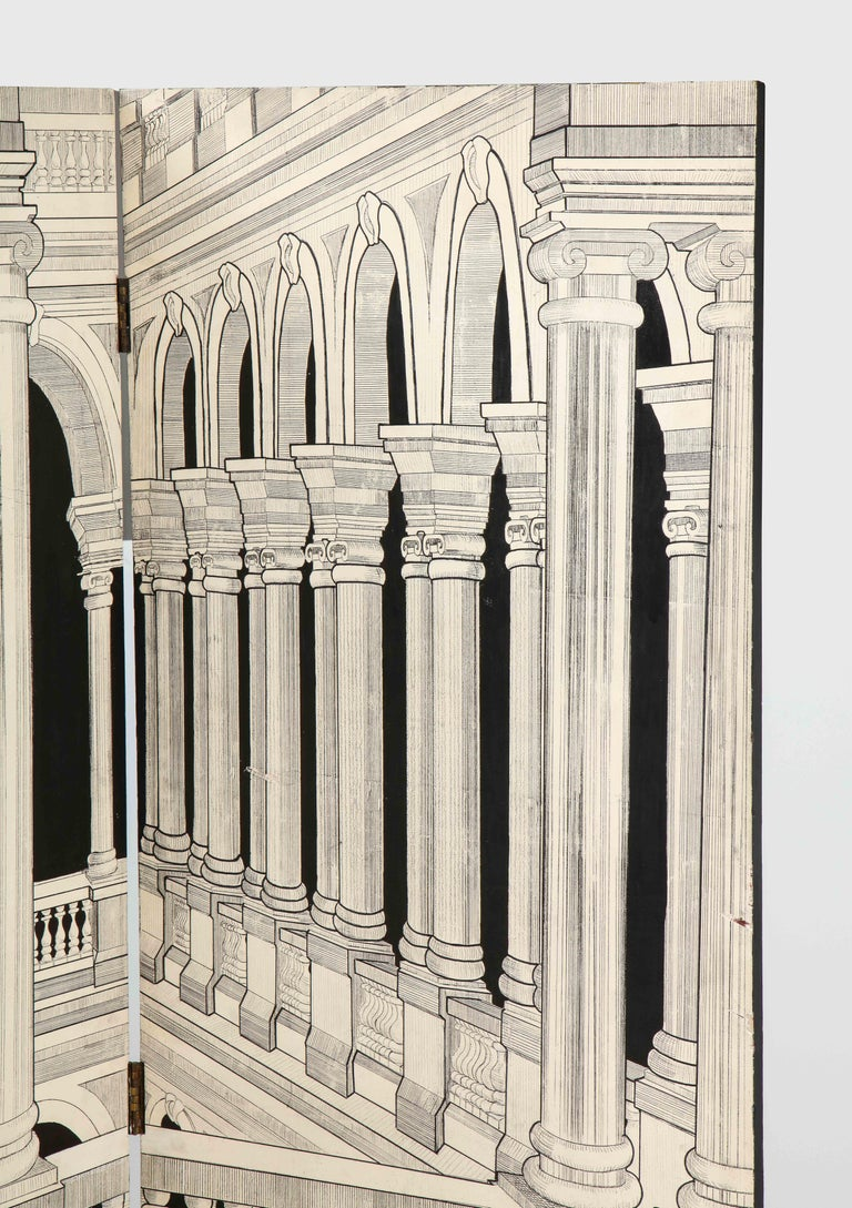 A great four panel perspective scene of an Italian interior with classical columns looking into an open space, rendered in a black and white on wood. In the manner of Fornasetti.