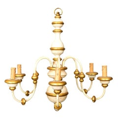 Painted Italian Six-Arm Wood and Iron Chandelier