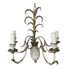 Painted Italian Wood & Metal Pineapple Chandelier, circa 1940s