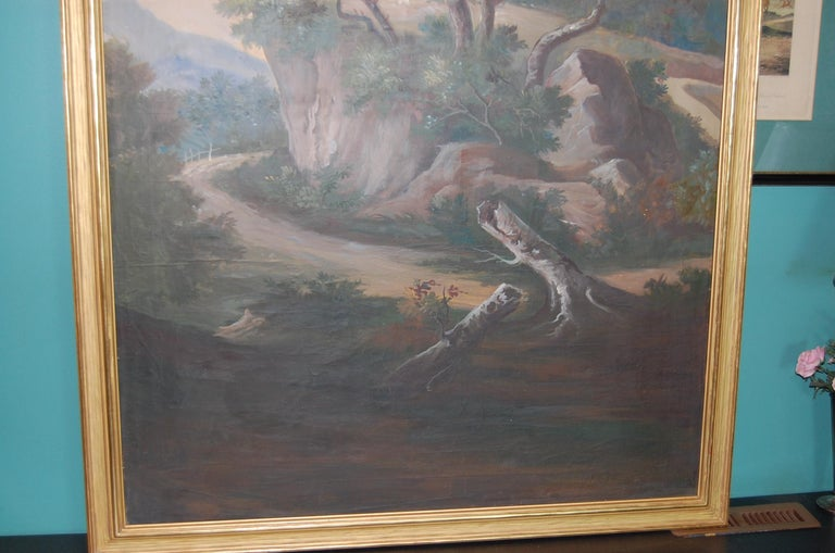 Painted Late 19th Century Italian Scenic Panel in Gold Leaf Frame In Good Condition For Sale In Pittsburgh, PA