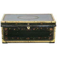 Painted Leather Camphor Wood Trunk