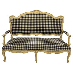 Painted Louis XV Style Canape in Navy Gingham Linen