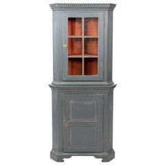Painted Louis XVI Style Corner Cabinet