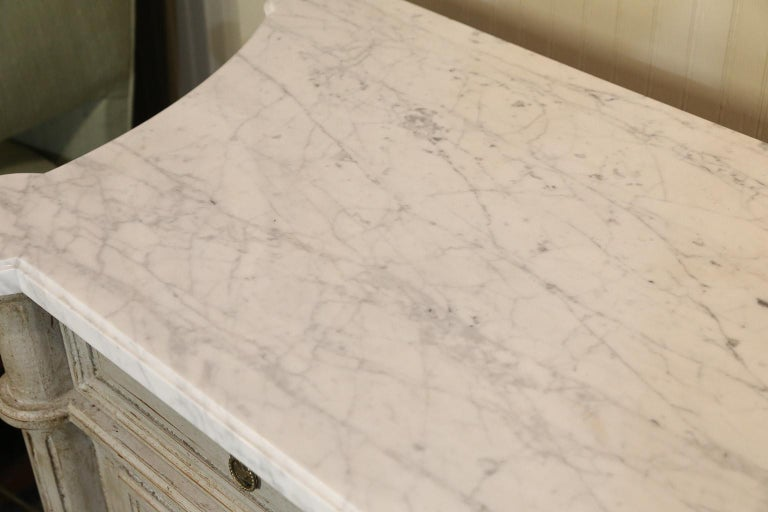 French Painted Louis XVI-Style Walnut Enfilade with Shaped White Marble Top For Sale