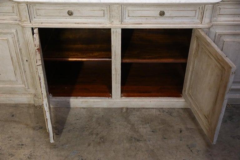 20th Century Painted Louis XVI-Style Walnut Enfilade with Shaped White Marble Top For Sale