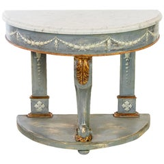 Painted Marble-Top Demilune Console Table