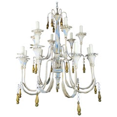 Painted Metal Chandelier with Gilt Tassels