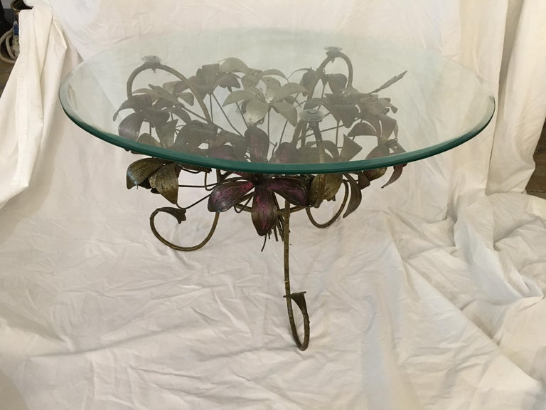 Painted Metal Flower Petal Coffee Table with Beveled Glass Top, 1960s In Good Condition For Sale In Nantucket, MA