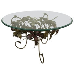 Painted Metal Flower Petal Coffee Table with Beveled Glass Top, 1960s