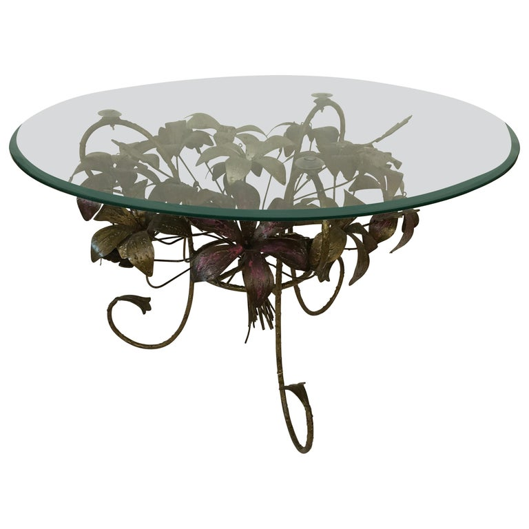 Painted Metal Flower Petal Coffee Table with Beveled Glass Top, 1960s For Sale