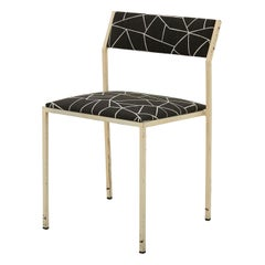 Painted Metal Frame Dining Chair with Cotton Geometric Print