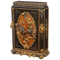 Painted Metal Mounted Ebonized Side Cabinet, 19th Century