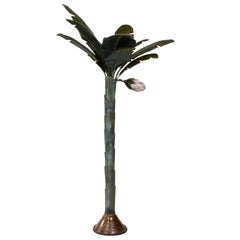 Painted Metal Sculpture of Palm or Banana Tree and Flower