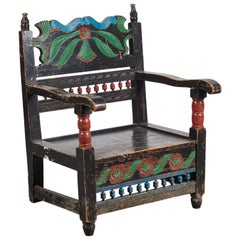 Painted Mexican Michoacan Armchair