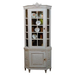 Painted Mid-19th Century Vitrine Bookcase, Two Pieces