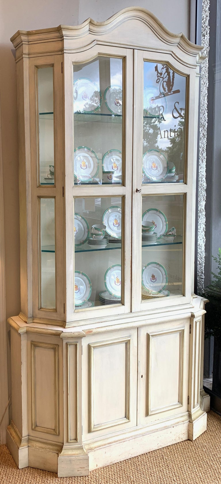 American Painted Neoclassical Display Cabinet For Sale