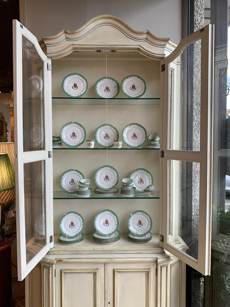 Wood Painted Neoclassical Display Cabinet For Sale