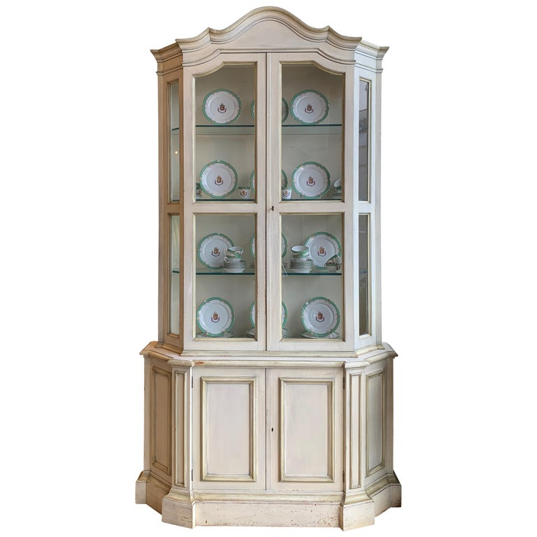 Painted Neoclassical Display Cabinet For Sale