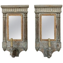 Painted Neoclassical Style Mirrored Italian Sconces, Pair