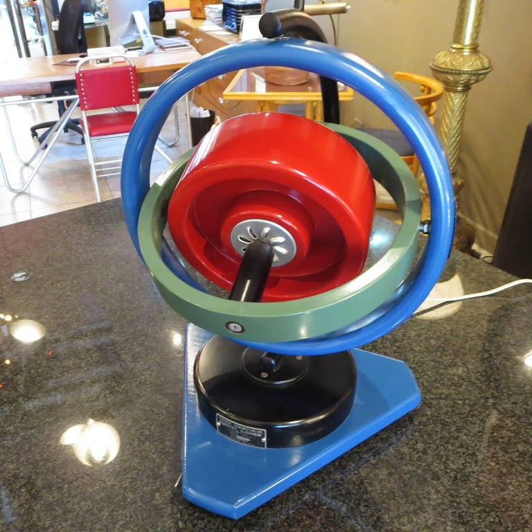 When military pilots and astronauts in training had to understand the theory of gyroscoping, this large dimensional model was used in the classroom. Each ring spins independently of the next, so multiple motions are achieved at once. The model plugs