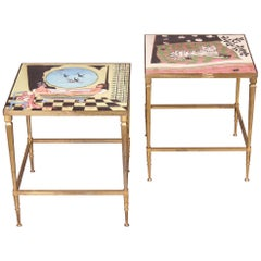Painted Pair of Side Table