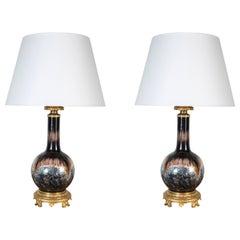 Painted, Parcel Gilt 19th Century Lamps