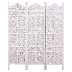 Painted Pierce-Carved 3-Panel Screen