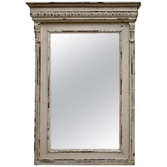 Painted Pine and Oak-Framed Mirror