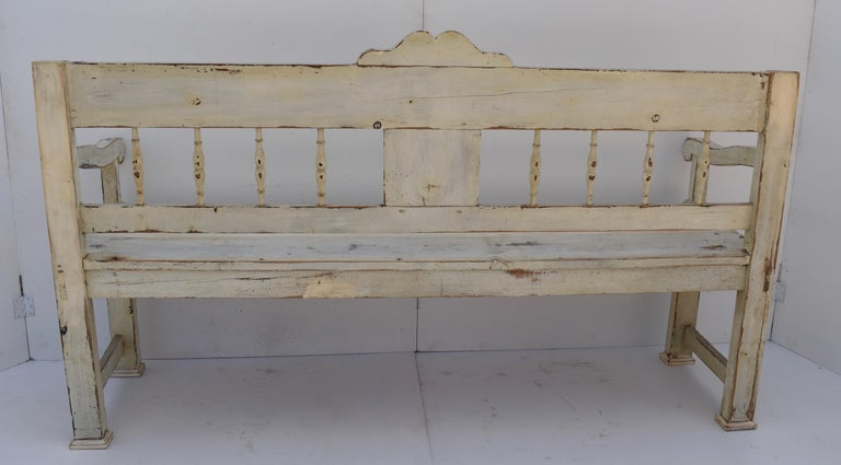 Painted Pine Bench or Settle For Sale 4