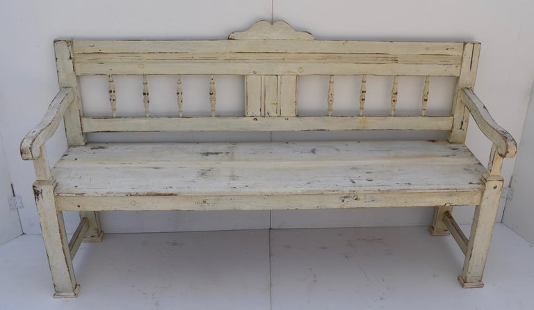 Hungarian Painted Pine Bench or Settle For Sale
