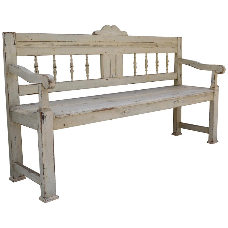Painted Pine Bench or Settle For Sale