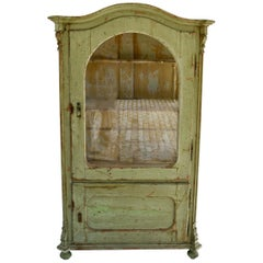 Painted Pine Vitrine or Glazed Cupboard
