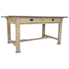 Painted Pine Zinc-Topped Work Table