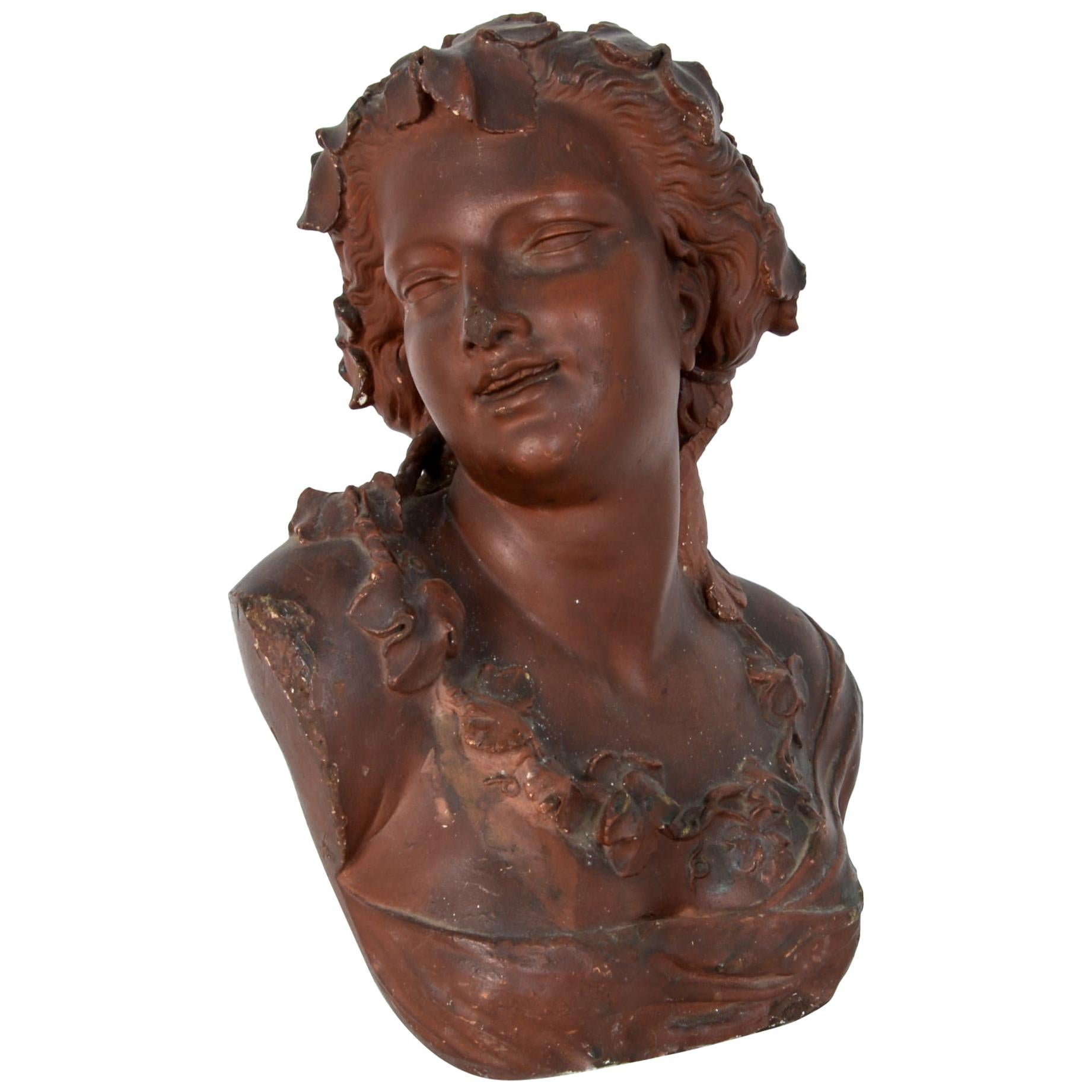 Painted Plaster Bust Architectural Decoration