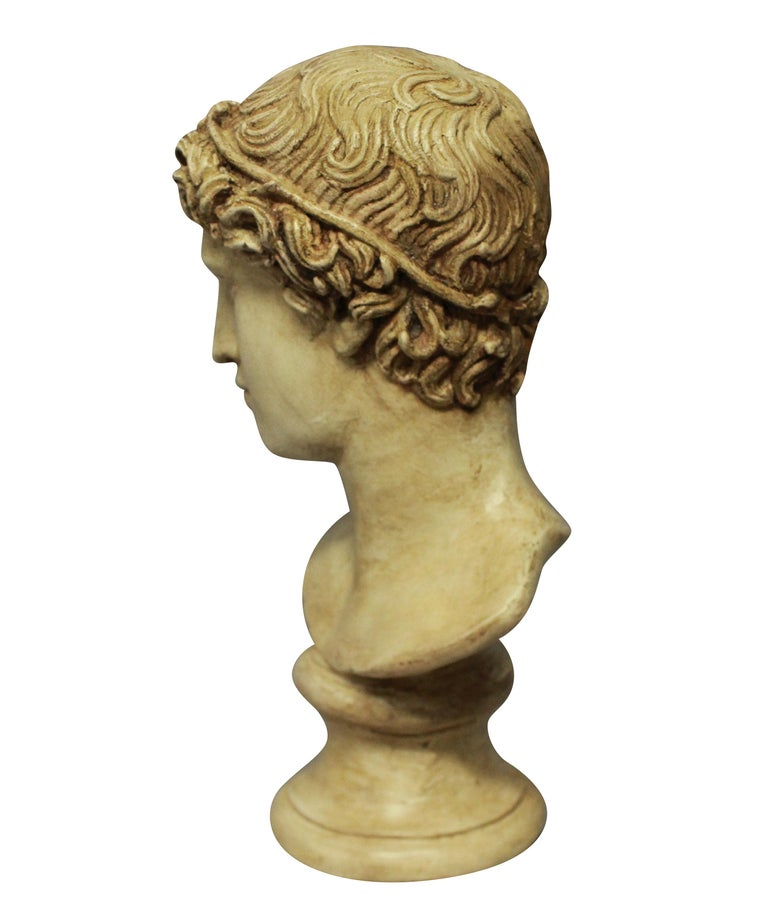 English Painted Plaster Head of a Roman Youth