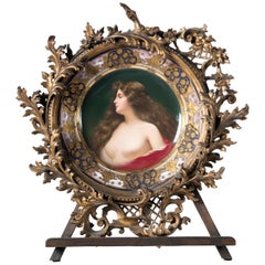 "Painted Porcelain and Hand Carved, Gold Leaf Wood Frame, Signed ""Épanouissement"""