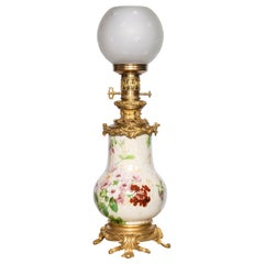 Painted Porcelain, Crystal and Gilt Bronze Table Lamp. France, circa 1890