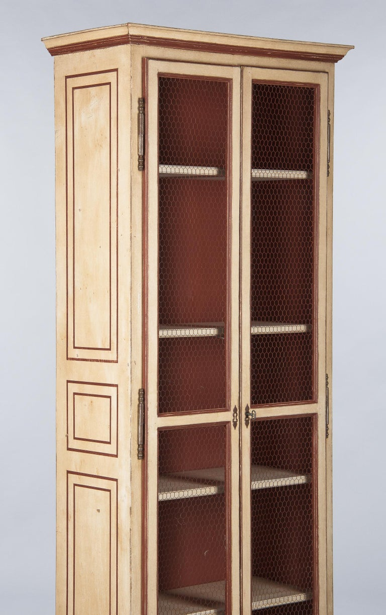 Mid-Century Modern Painted Provencal Vitrine Bookcase, France Midcentury For Sale