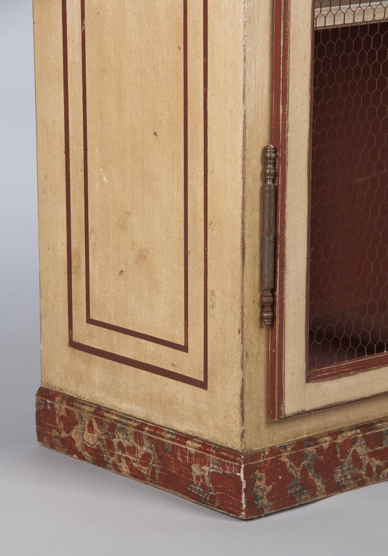 Wood Painted Provencal Vitrine Bookcase, France Midcentury For Sale