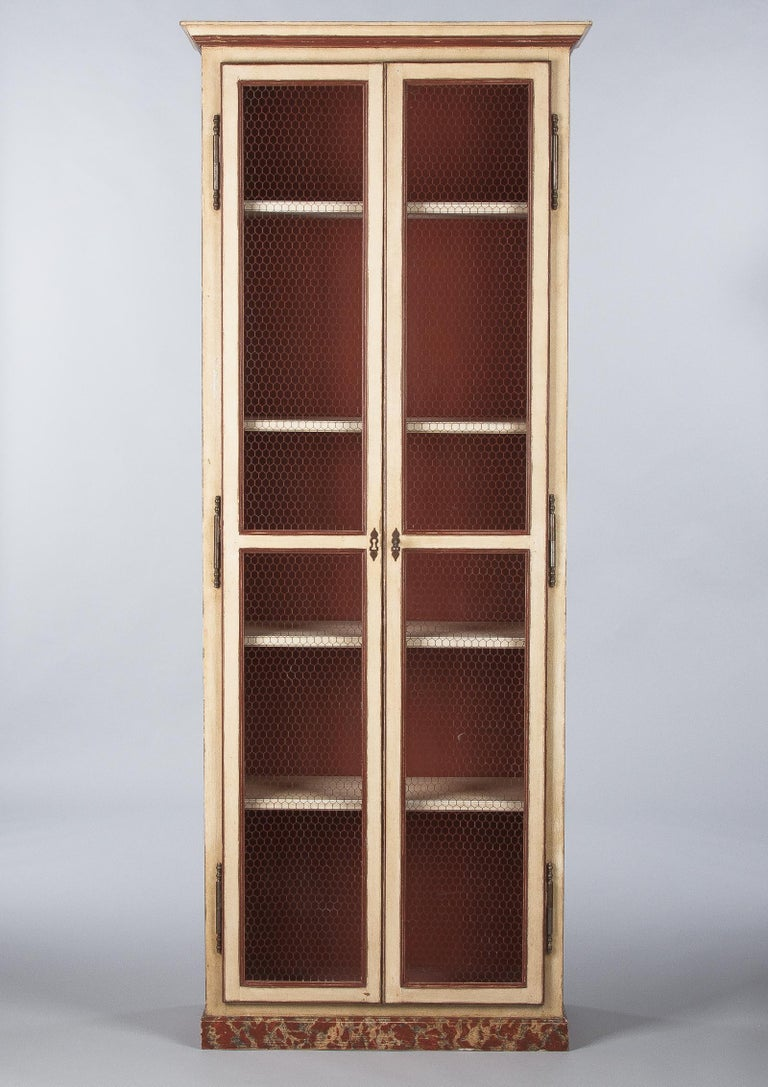 Painted Provencal Vitrine Bookcase, France Midcentury For Sale 1