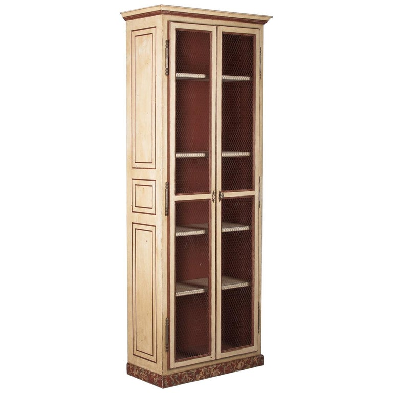 Painted Provencal Vitrine Bookcase, France Midcentury For Sale