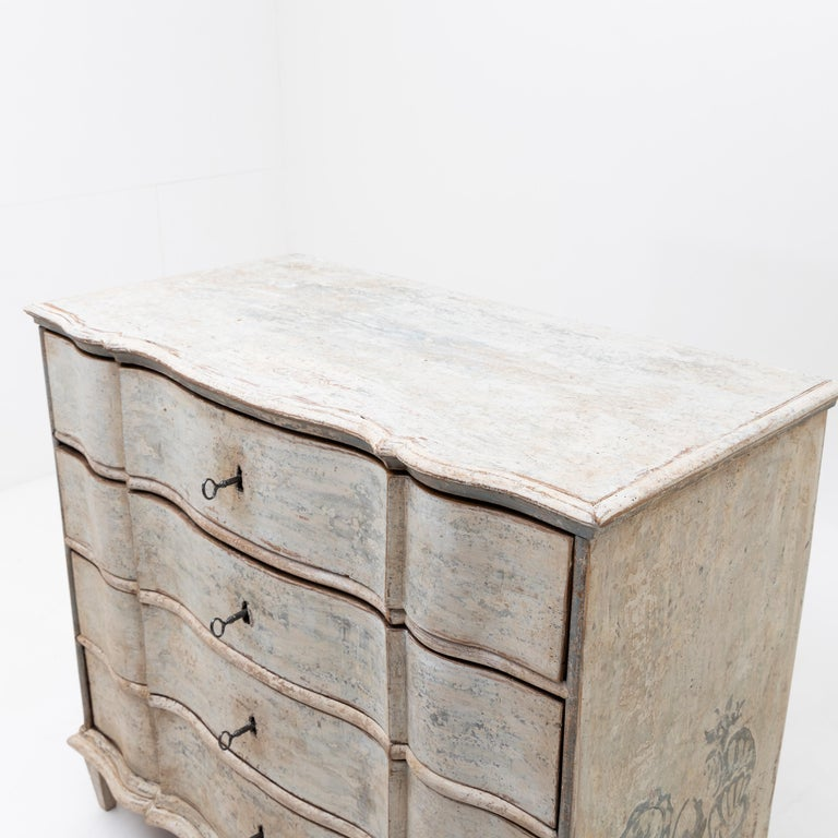 European Painted Provincial Baroque Chest of Drawers, 18th Century For Sale