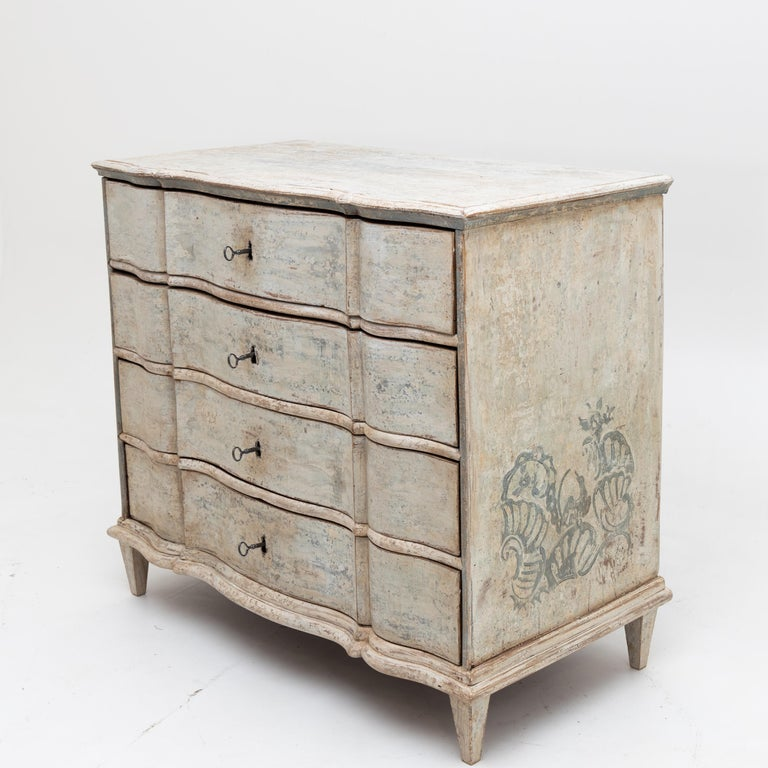 Painted Provincial Baroque Chest of Drawers, 18th Century In Good Condition For Sale In Greding, DE