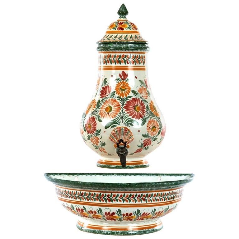 Painted Quimper Lavabo, circa 1880 For Sale