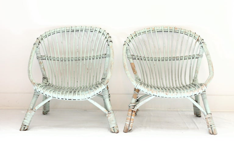 Painted Rattan Armchairs-Pair In Good Condition For Sale In West Hollywood, CA