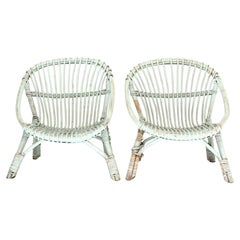Painted Rattan Armchairs-Pair
