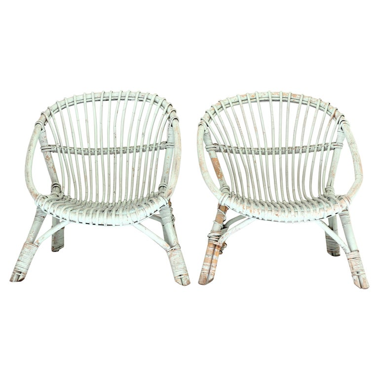 Painted Rattan Armchairs-Pair For Sale