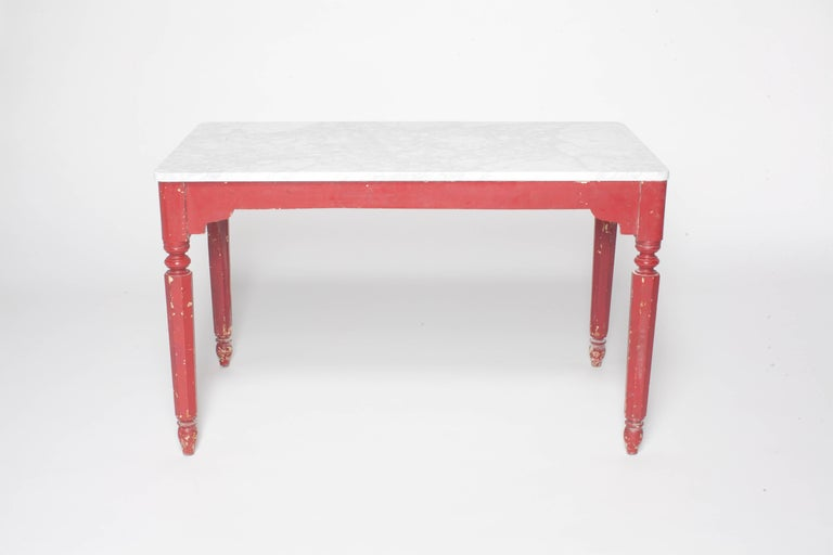 Painted Red Farm Table With Turned Legs And Marble Top For Sale At - Marble top farm table
